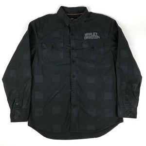Harley Davidson Black Button Up Shirt Men's Large